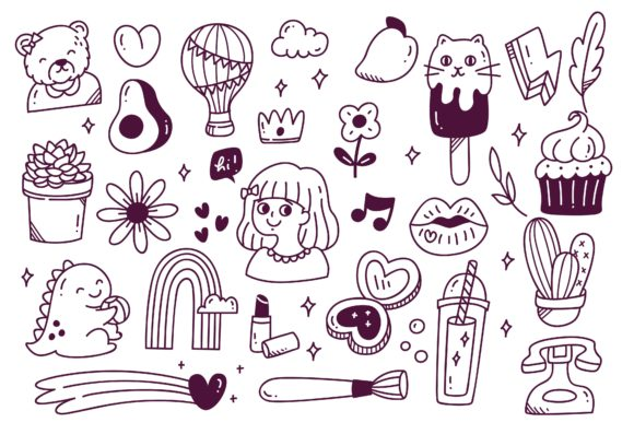 Set of Hand Drawn Doodle Vector Graphic Illustrations By Big Barn Doodles