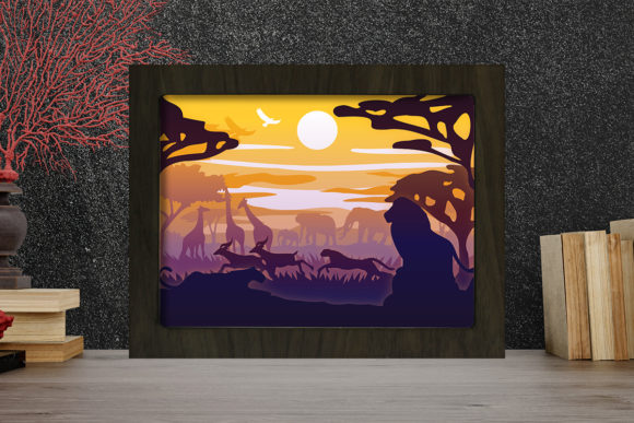 Simplified Africa Light Box Shadow Box Graphic 3D Shadow Box By LightBoxGoodMan