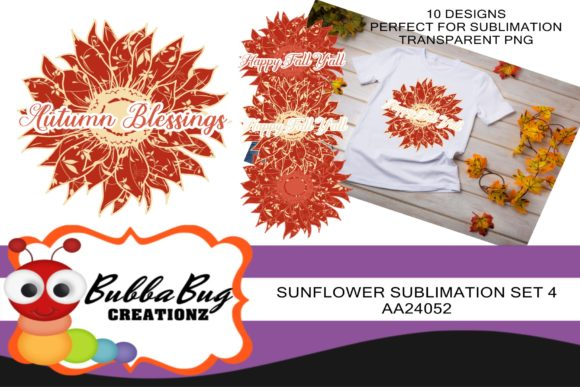 Sunflower Sublimation Set 4 Graphic Crafts By BUBBABUG