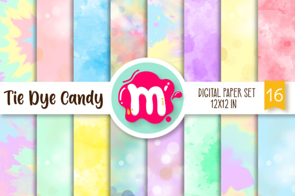 Print on Demand: Tie Dye Candy Colors Digital Paper Set Graphic Backgrounds By Mutchi Design