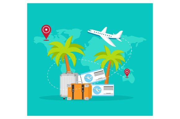 Print on Demand: Travelling Vacation Background on Flat Graphic Illustrations By Redvy Creative