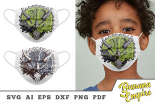 Print on Demand: Triceratops Face for Protective Face Mask Graphic Crafts By Banana Empire