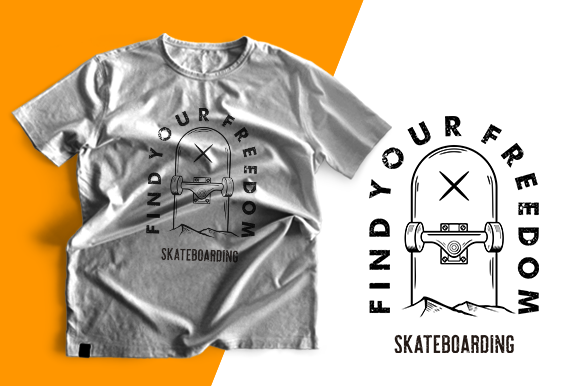 T-shirt Design - Skateboarding Graphic Print Templates By cithu09