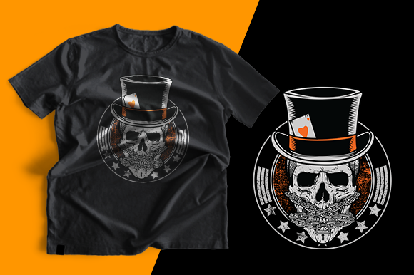T-shirt Design - Skull Poker Graphic Print Templates By cithu09