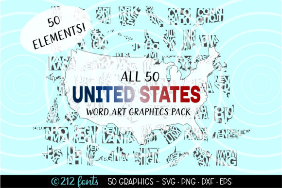 Print on Demand: United States Word Art SVG PNG Graphics Graphic Illustrations By 212 Fonts