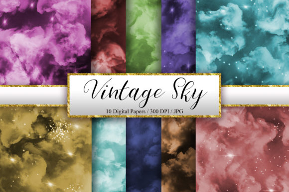 Vintage Sky Background Digital Papers Graphic Backgrounds By PinkPearly