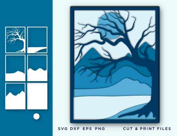 Wall Art 3D, Tree, Mountain Layered Graphic 3D SVG By 2dooart