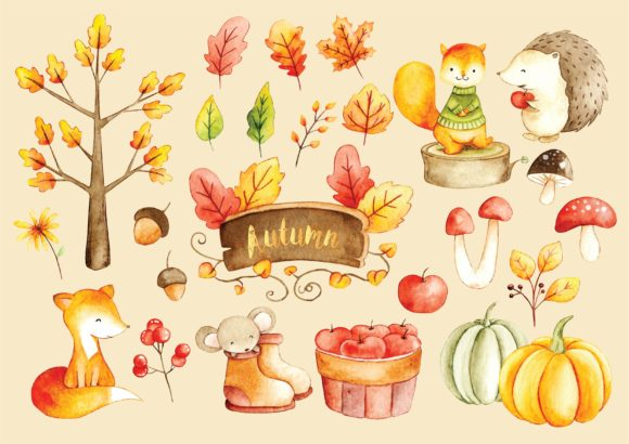 Water Color Doodle of Autumn Season Graphic Illustrations By Big Barn Doodles