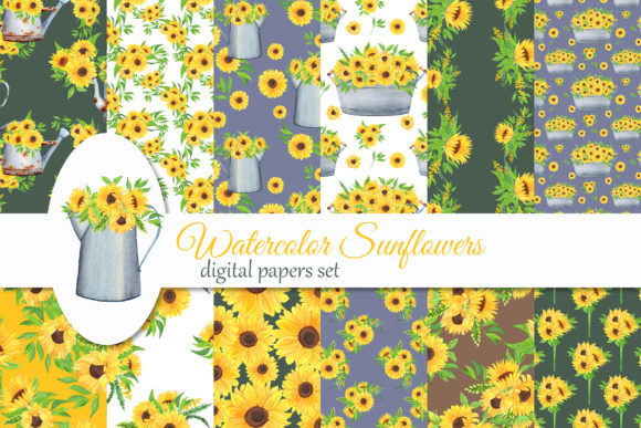 Print on Demand: Watercolor Sunflowers Digital Papers Graphic Illustrations By s.yanyeva