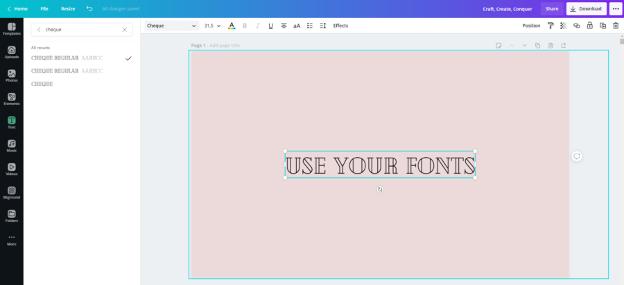 how to use your fonts in Canva