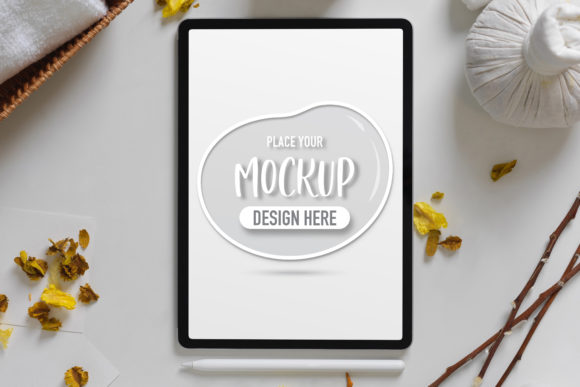Mock Up Tablet on Spa Table Graphic Product Mockups By bongkarngraphic