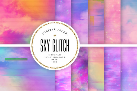 Print on Demand: Aesthetic Sky Glitch Backgrounds Graphic Backgrounds By Sabina Leja
