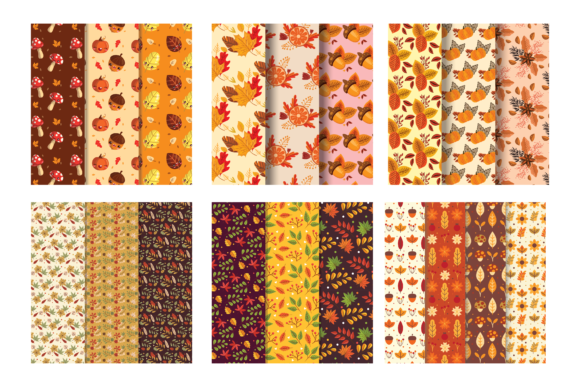 Print on Demand: Autumn Leaves Seamless Background Graphic Backgrounds By BOdesign