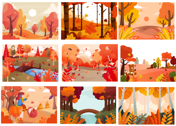 Print on Demand: Autumn Trees Illustration Graphic Nature By BOdesign