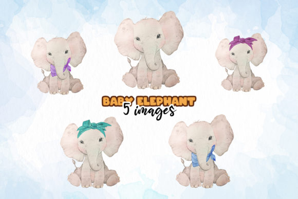 Baby Elephant Watercolor Bundle Graphic Illustrations By SVGasART