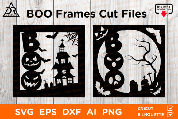 Print on Demand: Boo Halloween Frames Cut Files Graphic Crafts By davidrockdesign
