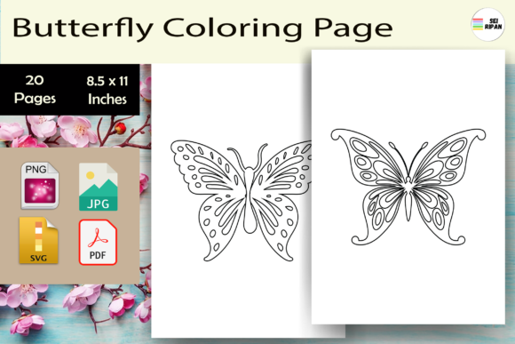 Print on Demand: Butterfly Coloring Page for Teens-KDP Graphic Coloring Pages & Books By Sei Ripan