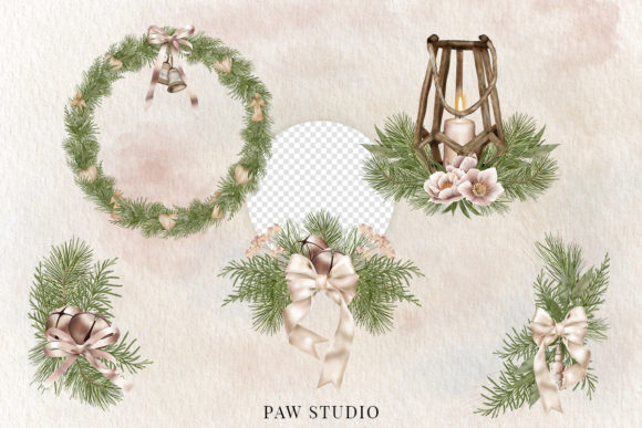 Christmas Border Wreath Winter Bouquet Graphic Preview