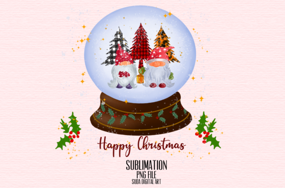 Print on Demand: Christmas Gnomes Sublimation Snow Globe Graphic Illustrations By Suda Digital Art