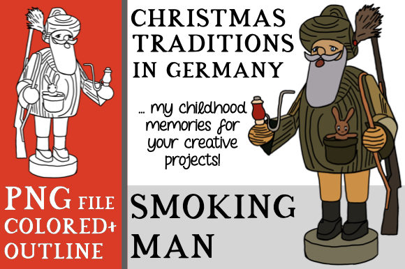 Print on Demand: Christmas Smoking Man Clipart (Germany) Graphic Objects By Better Teaching Resources