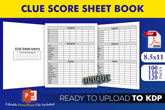 Print on Demand: Clue Score Sheet Book KDP Interior Graphic KDP Interiors By Beast Designer