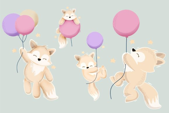 Cute Animal Playing with Baloon Design Graphic Illustrations By onoborgol