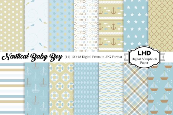 Digital Paper Baby Boy Nautical Patterns Graphic Patterns By LeskaHamatyDesign