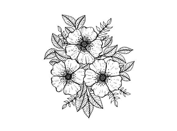Doodle Flowers, Hand Drawing Graphic Coloring Pages & Books Adults By Santy Kamal