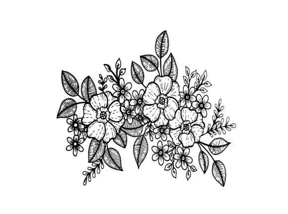 Doodle Flowers, Hand Drawing Vector Graphic Coloring Pages & Books Adults By Santy Kamal