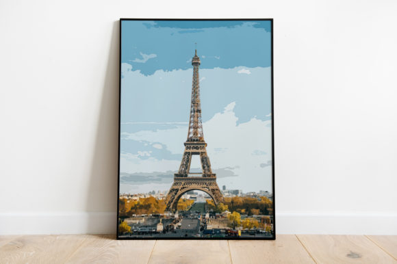 Print on Demand: Eiffel Tower Poster Watercolor Graphic Illustrations By Silenic.co