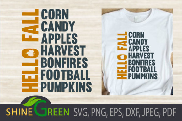 Print on Demand: Fall Pumpkin Apples Harvest Word Art Graphic Illustrations By ShineGreenArt