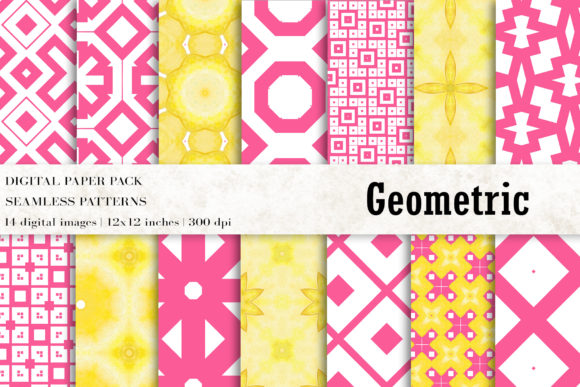 Geometric Digital Papers, Ikat Patterns Graphic Patterns By BonaDesigns