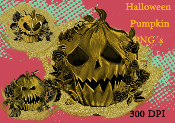 Print on Demand: Gold Angry Pumpkin Hallloween Cliparts Graphic Graphic Templates By Anna Tarach