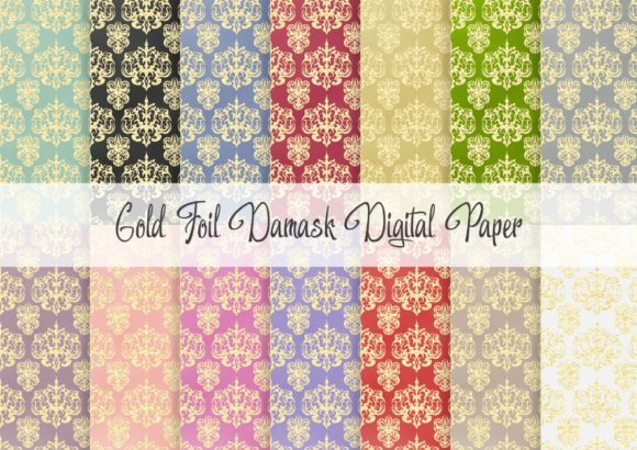 Print on Demand: Gold Foil Damask Digital Paper Graphic Patterns By Simply Paper Craft