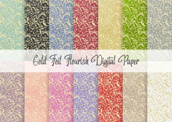 Print on Demand: Gold Foil Flourish Digital Paper Graphic Patterns By Simply Paper Craft