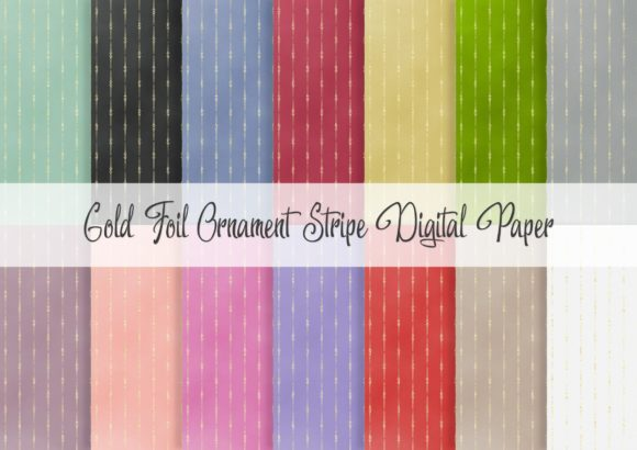 Print on Demand: Gold Foil Striped Ornament Digital Paper Graphic Patterns By Simply Paper Craft