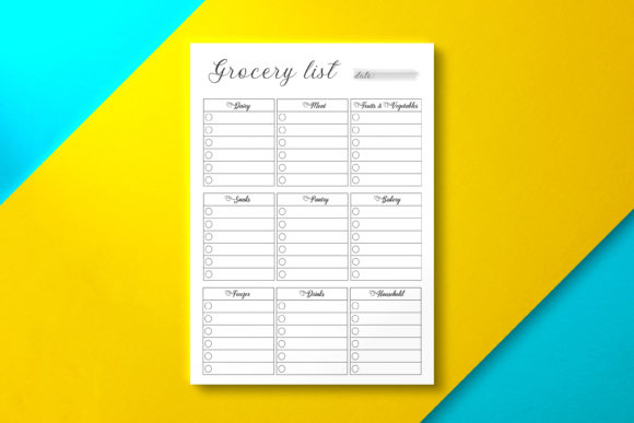 Grocery List, PDF Template Black Graphic KDP Interiors By Nickkey Nick