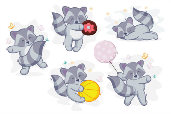 Happy Cute Racoon for Clipart and Craft Graphic Illustrations By onoborgol