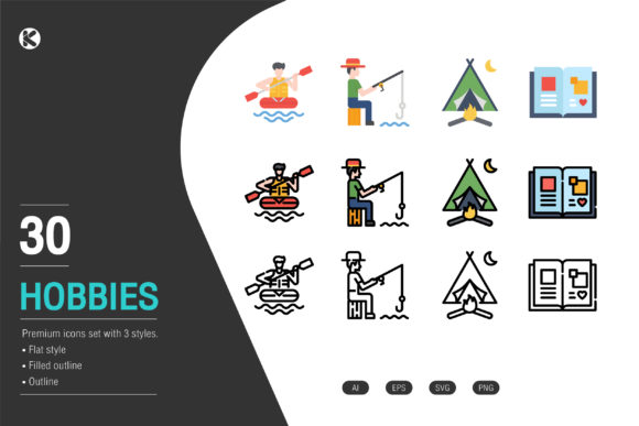 Hobbies Icons Collection. Graphic Icons By Koson.graphic