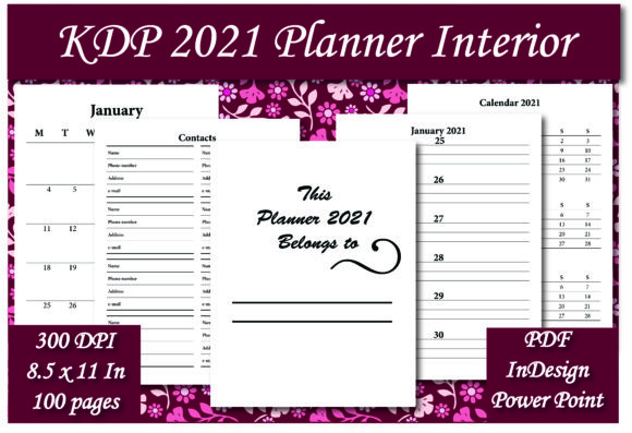 Print on Demand: KDP 2021 Planner Interior Graphic KDP Interiors By Ivana Prue