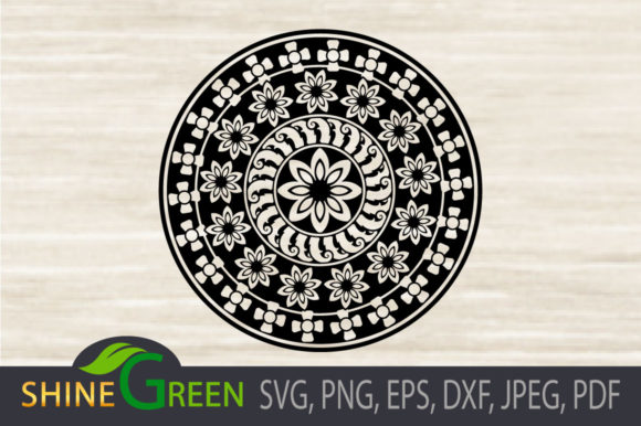Print on Demand: Mandala Floral Monogram Graphic Crafts By ShineGreenArt