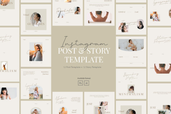 Print on Demand: Minimalist Beauty Instagram Template Graphic Graphic Templates By peterdraw