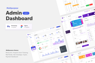 Print on Demand: Multipurpose Admin Dashboard UI Design Graphic UX and UI Kits By peterdraw