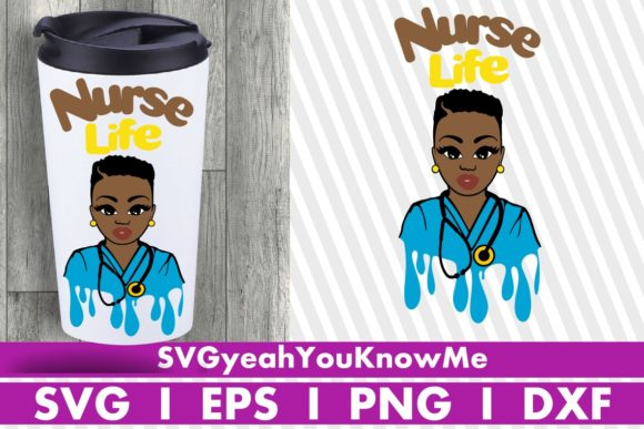 Nurse Life, Medical, Mask, Melanin Drip Grafik Illustrationen von svgyeahyouknowme