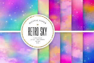 Print on Demand: Retro Sky Digital Paper Graphic Backgrounds By Sabina Leja