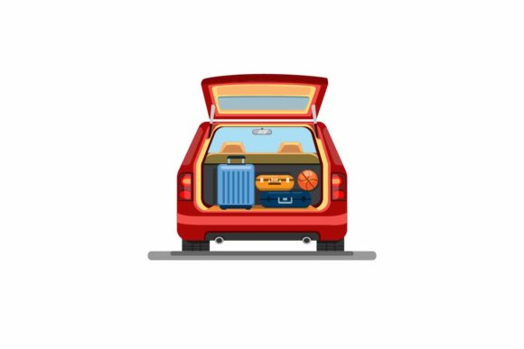 Print on Demand: Suitcase Luggage on Trunk Car Vector Graphic Illustrations By aryo.hadi