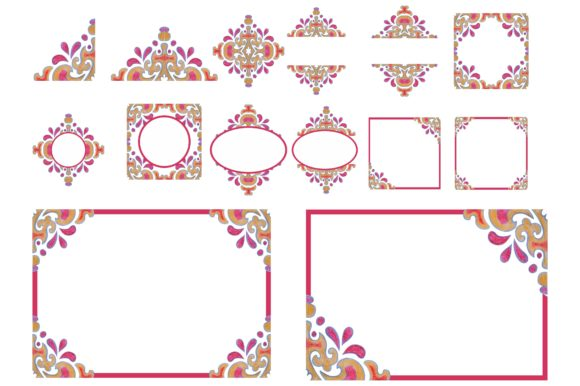 Watercolor Ornament Frame Border Set Graphic