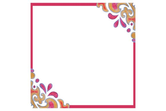 Watercolor Ornament Frame Border Set Graphic Graphic