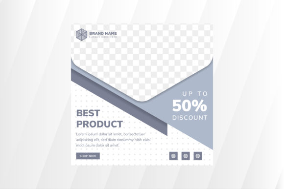 Print on Demand: Blue Pastel Square Banner Graphic Product Mockups By noory.shopper