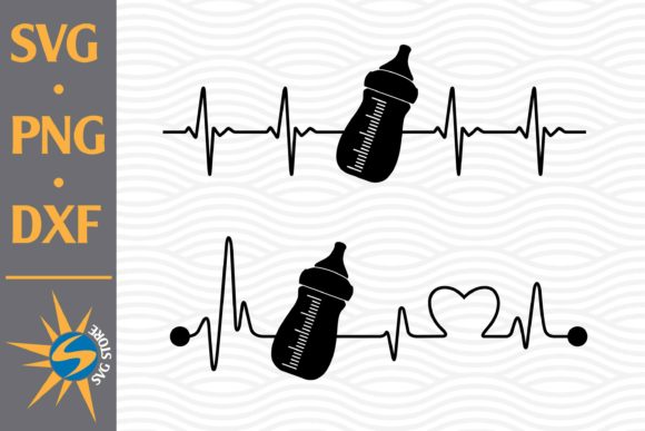 Print on Demand: Baby Bottle Heartbeat Graphic Crafts By SVGStoreShop